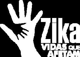 Logo da exposição Zika – Vidas que Afetam: Silhueta de mão de adulto sobreposta por mão de criança; ao lado, em letras laranja e cinza: Zika, Vidas que afetam.