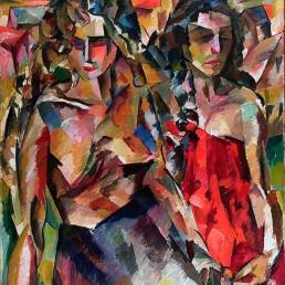 Reprodução do quadro Two Women, do artista cubista russo Aristarkh Lentulov. Vemos duas mulheres lado a lado, da altura da coxa para cima. Elas são compostas por pinceladas bem marcadas e coloridas em azul, vermelho e cores de pele clara. A da esquerda tem cabelos claros e volumosos e está com o rosto abaixado para a esquerda. Veste uma saia escura e está com seios à mostra. A da direita tem cabelos pretos e escorridos e olha para a direita. Está de vestido vermelho tomara que caia.